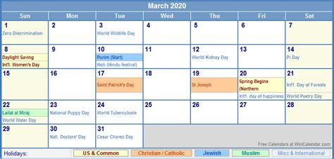 march calendar holidays printing image format