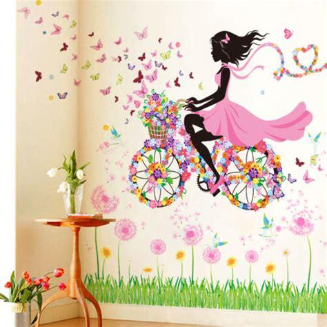 Wandtattoo Kinderzimmer Blumen by Fahrrad Blumen M 196 Dchen Wandaufkleber Wandsticker