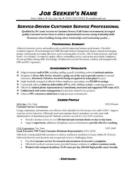 Customer Service Profile by Customer Service Resume Sle A Customer Service