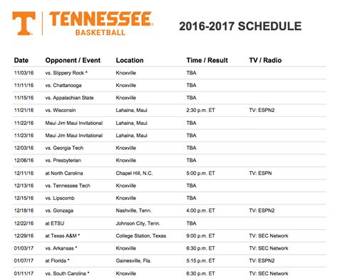 tennessee releases hoops schedule    rocky top