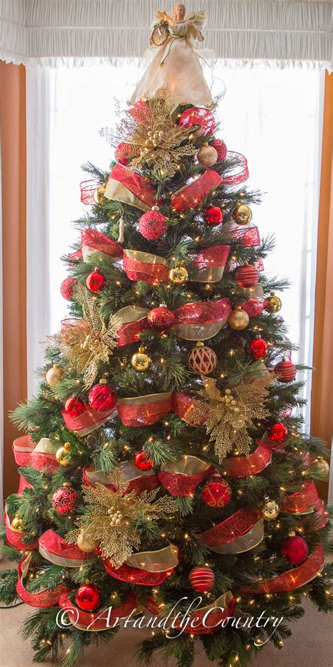 christmas tree decorations and gold red and gold christmas tree