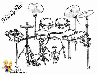 Coloring Pages Musical Drum Drums Kit Orchestra