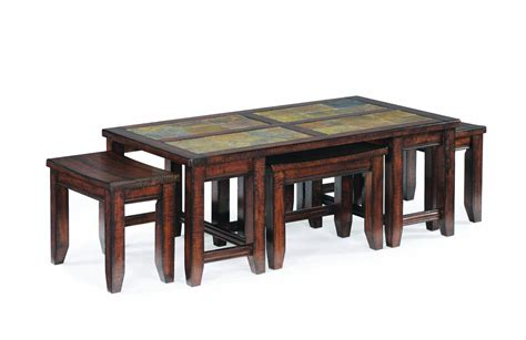 coffee table with ottomans underneath rustic rectangle coffee table with ottoman stools