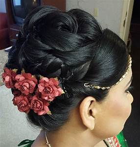 Indian Wedding Bun Hairstyles With Flowers HairStyles