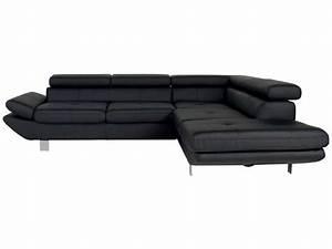 Canapé D Angle Conforama : canap d 39 angle fixe droit 5 places loft coloris noir en pu vente de canap d 39 angle conforama ~ Teatrodelosmanantiales.com Idées de Décoration