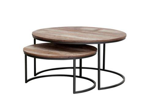table basse gigogne table basse ronde et gigogne en bois massif et m 233 tal