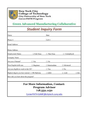 fax template pdf student enquiry form fill online printable fillable