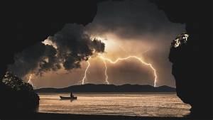 Landscape, Storm, Rays, Sea, Clouds, Cave, Fantasy, 8k, Mac, Wallpaper, Download
