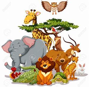 Wildlife clipart group wild animal - Pencil and in color ...