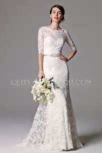 simple wedding dresses with sleeves 3 4 sleeve lace classic wedding gown with illusion scoop neckline of