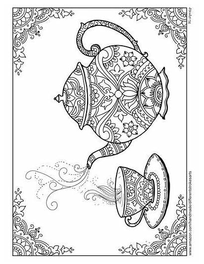 Coloring Pages Library Adult Mandala Teapot Grown