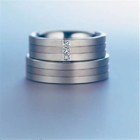 3 stone setting titanium engagement couple ring weddingringmart s blog