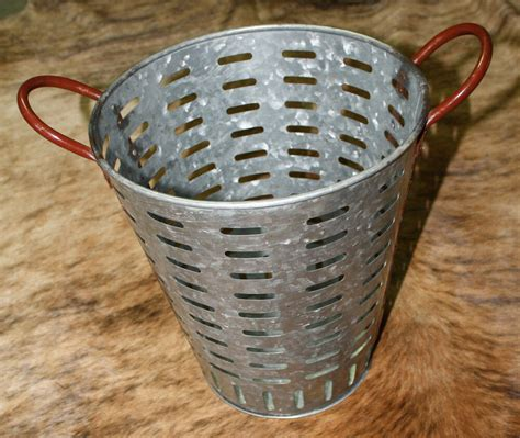 Galvanized Rustic Antique Style Metal Olive Bucket Home