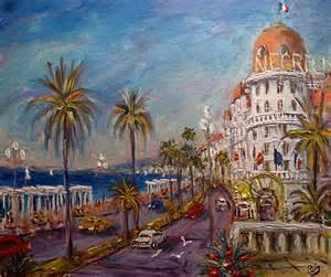 Tableau Peinture En Anglais by Tableau Art Figuratif Nice Promenade Des Anglais Bleu