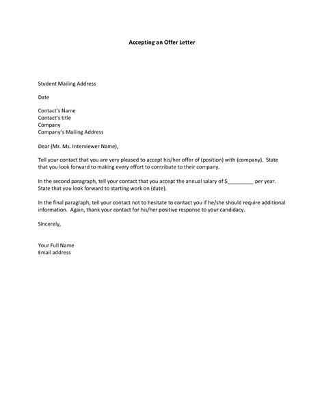 job offer acceptance letter exle icover org uk offer letter acceptance pertamini co