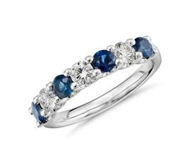 sapphire wedding rings seven sapphire and ring in platinum blue nile