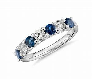 luna seven stone sapphire and diamond ring in platinum With wedding rings with blue stones