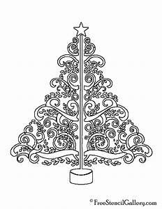 Christmas, Tree, Stencil, 09