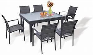 Salon Aluminium De Jardin : salon de jardin gris anthracite 6 fauteuils avec rallonge ~ Edinachiropracticcenter.com Idées de Décoration