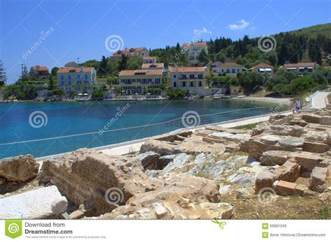 ancient ruins on island coast editorial stock image