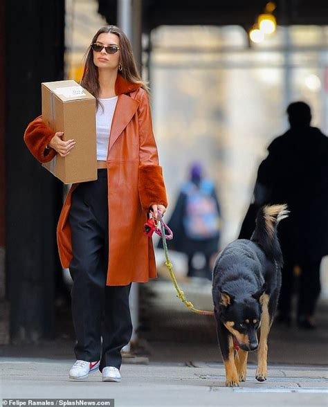Emily Ratajkowski looks chic as she walks dog Colombo in ...
