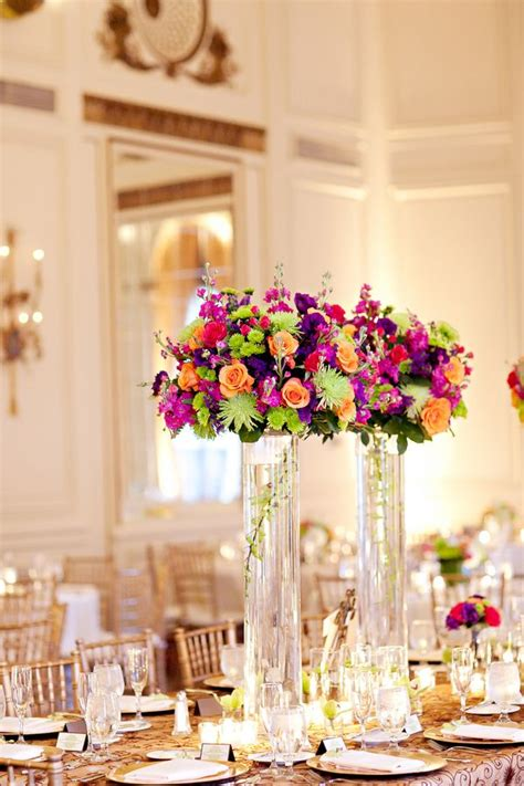 Tall Colorful Vibrant Wedding Centerpieces Wedding