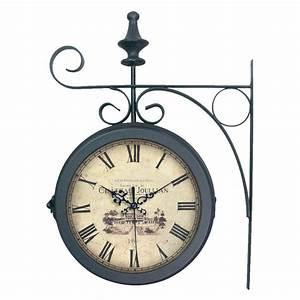 Horloge De Gare : horloge de gare en m tal double face noir 27x38cm station ~ Teatrodelosmanantiales.com Idées de Décoration