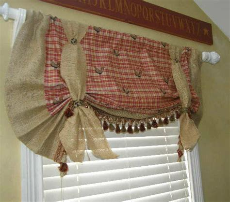 country style l shades custom balloon valance curtain french country burlap