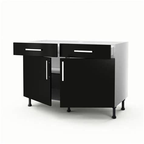 meuble bas de cuisine 120 cm meuble de cuisine bas noir 2 portes 2 tiroirs délice h
