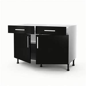 Meuble de cuisine bas noir 2 portes 2 tiroirs delice h for Delightful meuble bas cuisine 120 cm 0 meuble de cuisine bas noir 2 portes 2 tiroirs delice h