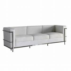 canape 3 places cuir blanc inox moderne design corbs With salon canapé cuir blanc