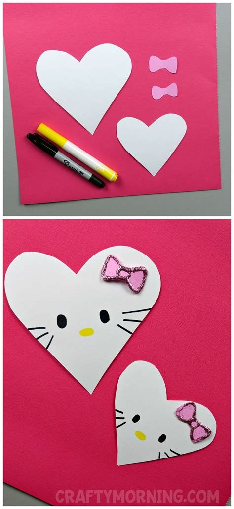kitty heart valentine craft  images easy