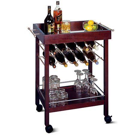 Rolling Bar by Winsome Wood Johnnie 10 Bottle Rolling Bar Cart With Shelf