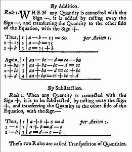 A List Of Rules In An Eighteenth Century Algebra Text Book