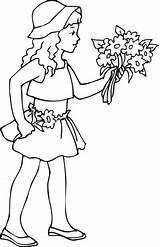 Holding Coloring Flowers Drawing Bouquet Rose Printable Fille Nina Colorear Kleurplaat Tient Jeune Fleurs Sac Coloriage Wc Pot Anime Dibujos sketch template