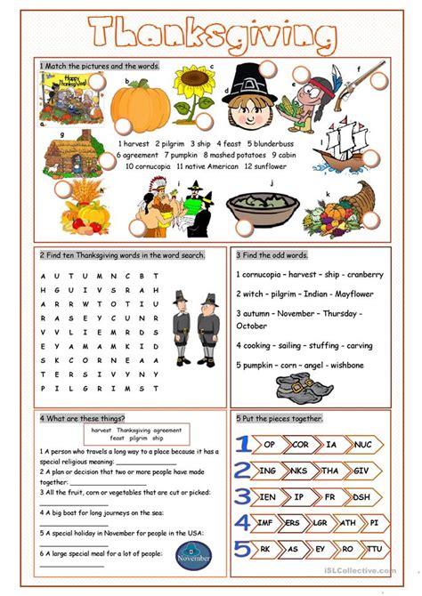 thanksgiving vocabulary exercises worksheet  esl