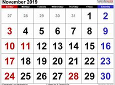 November 2019 Calendar 2019 calendar template