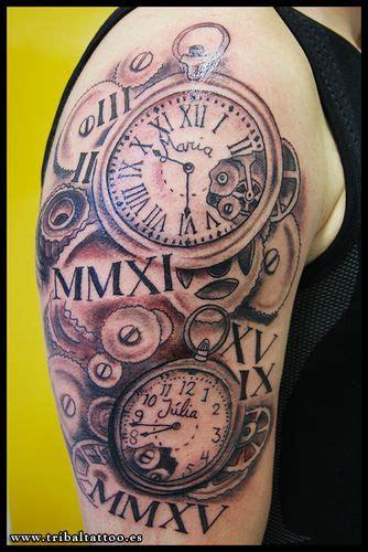 tattoo rellotge antic reloj clock tribal tarragona