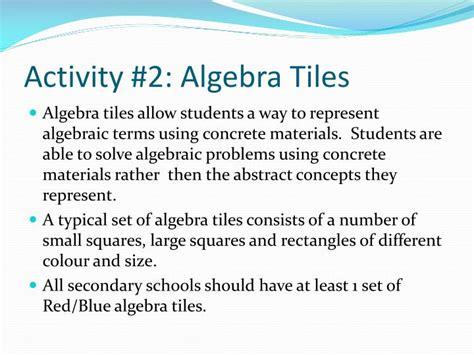 algebra tiles problems ppt effective use of manipulatives powerpoint