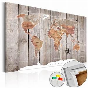 Carte Du Monde En Liège : tableau en li ge carte du monde effet bois tableau et ~ Melissatoandfro.com Idées de Décoration
