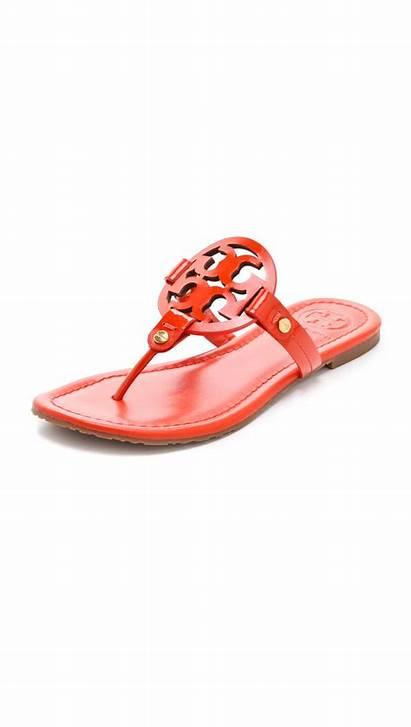 Tory Burch Sandals Miller Patent Orange Flame