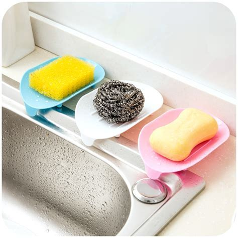 4 Color Soap Dish Soap Saver Holder Tray Bathroom Kitchen