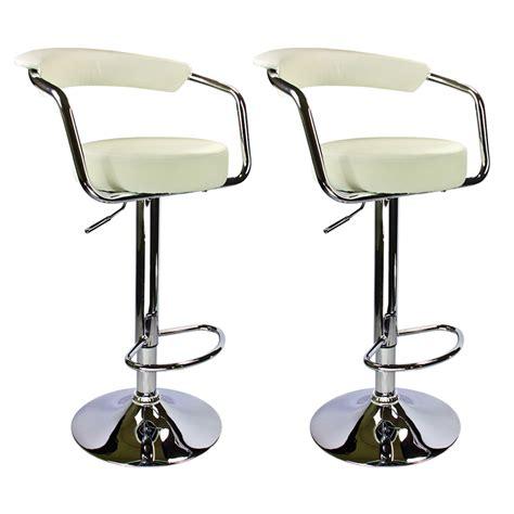 set of 2 adjustable bar stools leather hydraulic swivel