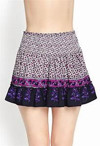 Forever 21 Ruffled Floral Skirt in Purple (Cream/magenta ...
