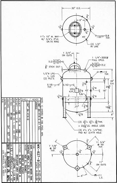 WK-627-B Hydropneumatic Tank 120 gallon - specs, drawing