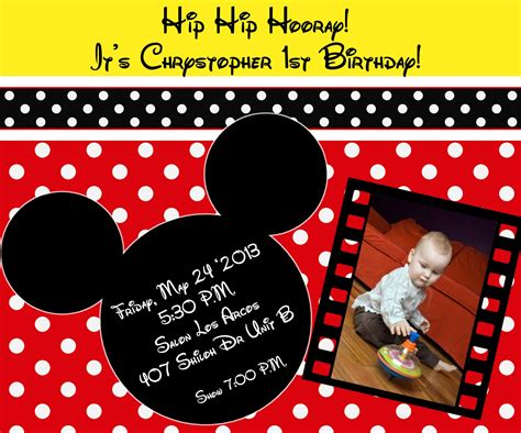 The Childrens Zone Digi Designs: Invitaciones de Mickey Mouse