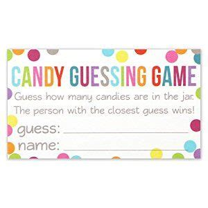 candy guessing game cards guess     jar