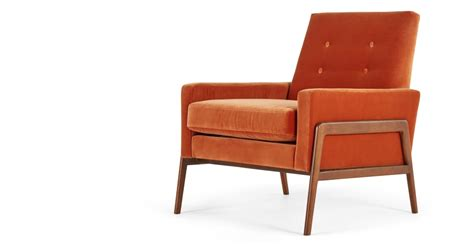 Armchair In Burnt Orange Cotton Velvet, Cecil