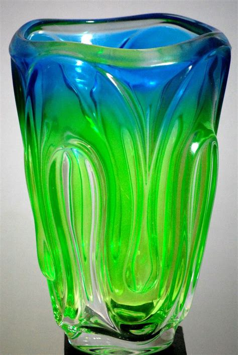 Blue And Green Vase by Blue And Lime Green Large Wavy Thick Glass Vase