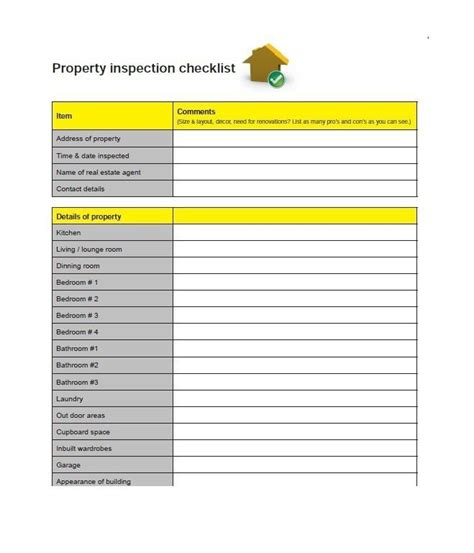 printable home inspection checklist inspection checklist